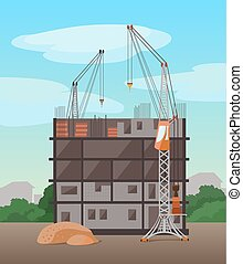 vector, edificio, proceso, edificio., plano, multistory, illustration.