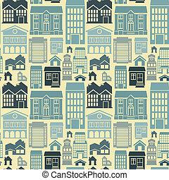 vector, edificios, patrón, seamless, casas