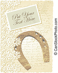 romantic card with horseshoe - vector editable and scalable...