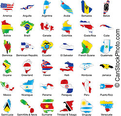 american flags in map shape with details - vector editable...