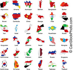 asian flags in map shape with details - vector editable...