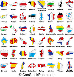 european flags in map shape with details - vector editable...