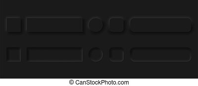 Vector editable neomorphic buttons set. Sliders for websites, mobile menu, navigation and apps. Simple elegant Neomorphism trendy 2020 designs element UI components isolated on black background