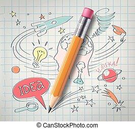 vector, educación, ciencia, concepto, lápiz, bosquejo