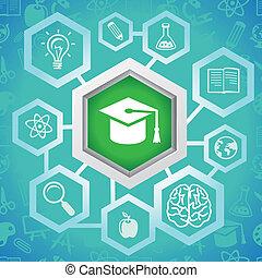 vector, educación, concepto