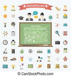 vector, educación, grande, conjunto, en, plano, estilo