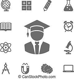 vector, educación, iconos