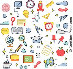 Vector education colorful icon set