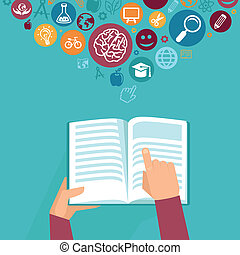 Vector education concept - hands holding book and icons in...