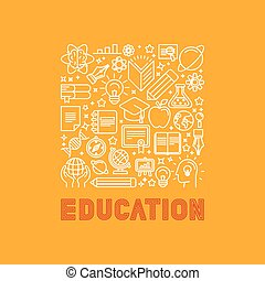 Vector education concept in trendy linear style - e-learning...