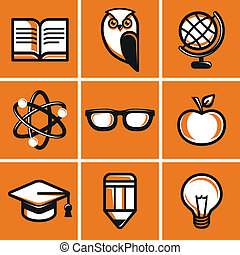 Vector education concepts in flat outline style - school and...