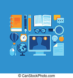 Vector education icons in flat style and bright colors -...