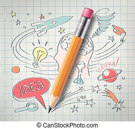 Vector education, science concept, pencil, sketch