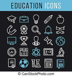 Vector education thin line icon set