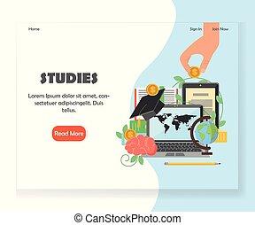 Vector education website landing page design template -...