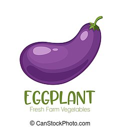Vector eggplant isolated on white background.Vegetable illustration for farm market menu. Healthy food design poster. Cartoon style vector illustration