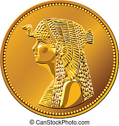 vector Egyptian money, gold coin featuring queen Cleopatra -...