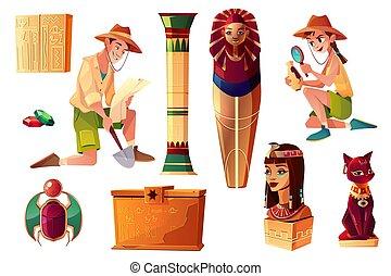 Vector Egyptian set - characters, symbols of culture -...