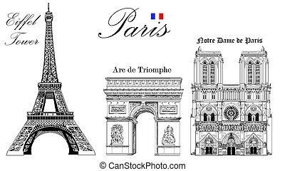 Vector Eiffel Tower, Triumphal Arch and Notre Dame Cathedral