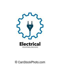vector, eléctrico, icono, servicio, instalación, logotipo