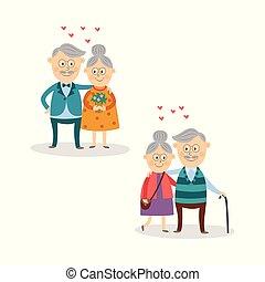 vector elderly couple in love, valentine's day set