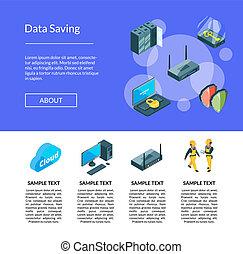 vector, electrónico, sistema, de, centro de datos, iconos, página