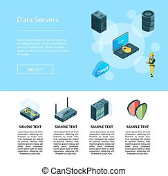 vector, electrónico, sistema, de, centro de datos, iconos, página, ilustración