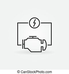Vector electric car engine concept icon in thin line style