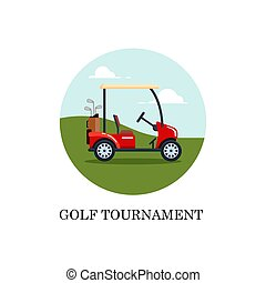 Vector electric golf car with golf club bag on a field with green grass. Transport, vehile flat style illustration
