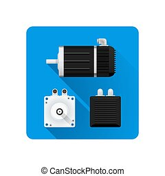 vector colored flat design servo electric motor different angles illustration icon long shadow rounded square background