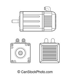 vector black outline monochrome servo electric motor different angles illustration isolated white background