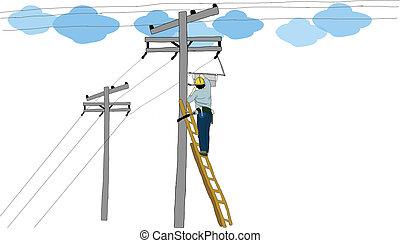 vector, electricista, hombre