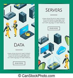 Vector electronic system of data center icons web banner templates illustration