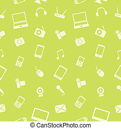 Vector electronics gadget seamless pattern. Use this pattern to be printed on paper or cloth, as well as for wallpaper and web design.