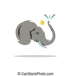 vector, elefant, illustration., spotprent