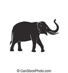 vector, elefant, pictogram