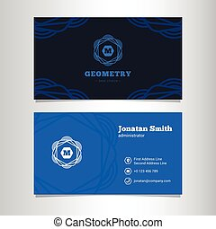Vector elegant business card template with monogram logo