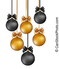 Christmas background with gold and black evening baubles