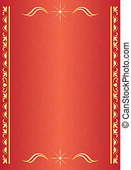 red decorative card with tracery