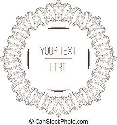 vector, elegant, ruimte, tekst, frame, filigraan