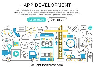 Vector elegant thin line flat modern Art design App development concept. Website header banner elements layout. Presentation, flyer and poster.