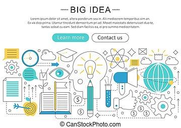 Vector elegant thin line flat modern Art design Big idea concept. Website header banner elements layout. Presentation, flyer and poster.
