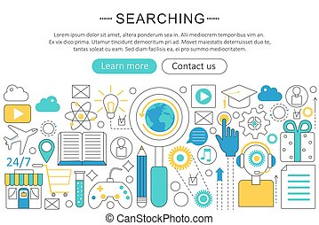 Vector elegant thin line flat modern design Searching search concept. Website header banner elements layout. Presentation, flyer and poster.