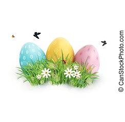 Vector element for design. Easter eggs in green grass with white flowers, butterflies isolated on white background