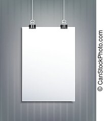 Vector element for design with a piece of paper hanging on  striped wall