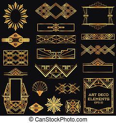 vector, elementos, arte, vendimia, -, deco, diseño, marcos