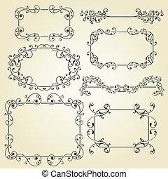 vector, elementos florales, diseño, de encaje, vendimia