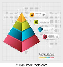 vector, elements., abstract, piramide, infographic, type