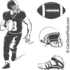 Vector elements for american football labels, logos, badges and emblems