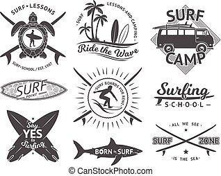 Vector elements for labels or badges. Surfing, hawaii surfboard and sea. Monochrome illustration set